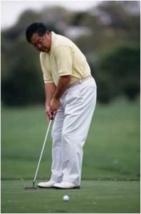 Man golfing - mindfully?